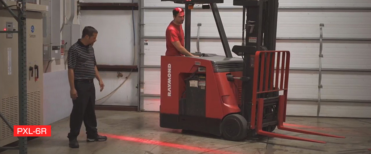 PXL 6R WARNING LIGHT FORKLIFT VISIBLE RED LINE COLOR BEAM TO PREVENT ACCIDENT FROM FORKLIFT